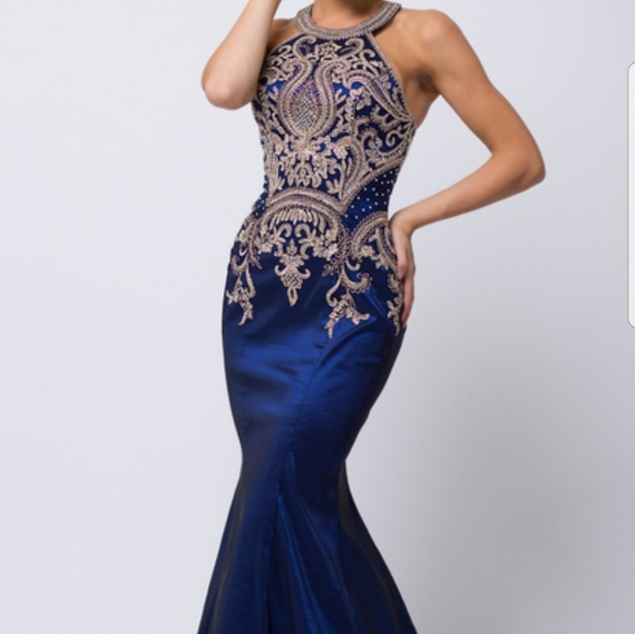 PROM Dress: Royal Blue & Gold Mermaid gown